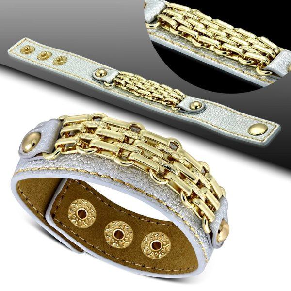 Amanto Armband Coriun Grey - Dames - PU Leer - Messing Goudkleurig - 20 mm - 22 cm-15291