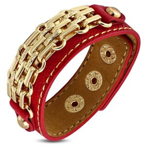 Amanto Armband Coriun Red - Dames - PU Leer - Messing Goudkleurig - 20 mm - 22 cm-0