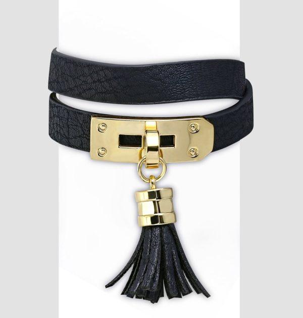 Amanto Armband Cornalt Black - Dames - PU Leer - Messing - Kwastje - 13 mm - 38 cm-0