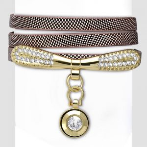 Amanto Armband Cosmas Brown - Dames - PU Leer - Messing - Zirkonia - 9 mm - 55 cm-0