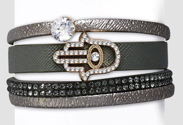Amanto Armband Cosmo Grey - Dames - PU Leer - Zirkonia - Hamsa - 25 mm - 22 cm-0