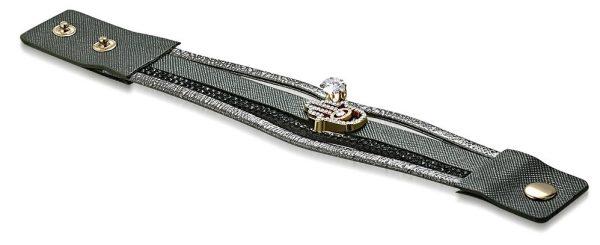 Amanto Armband Cosmo Grey - Dames - PU Leer - Zirkonia - Hamsa - 25 mm - 22 cm-15416