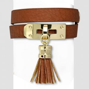 Amanto Armband Cornalt Brown - Dames - PU Leer - Messing - Kwastje - 13 mm - 38 cm-0
