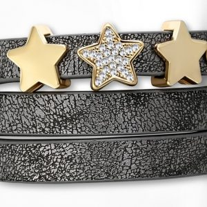 Amanto Armband Corto Grey - Dames - PU Leer - Messing - Zirkonia - Ster - 15 mm - 57 cm-0