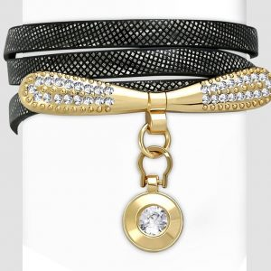 Amanto Armband Cosmas Black - Dames - PU Leer - Messing - Zirkonia - 9 mm - 55 cm-0