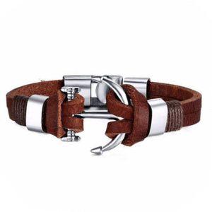 Montebello Armband Burcin Brown - Heren - PU Leer - Messing - Anker - 20 cm-0