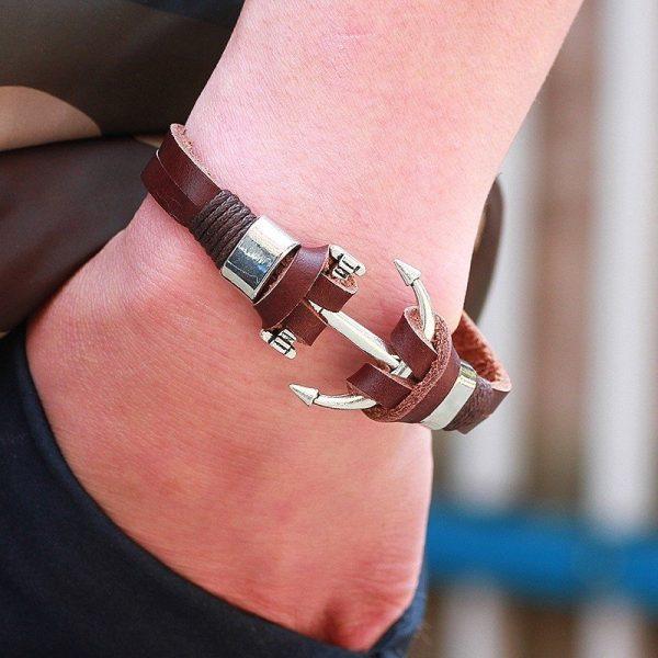 Montebello Armband Burcin Brown - Heren - PU Leer - Messing - Anker - 20 cm-16087