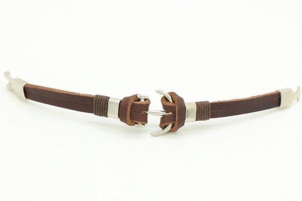 Montebello Armband Burcin Brown - Heren - PU Leer - Messing - Anker - 20 cm-16086