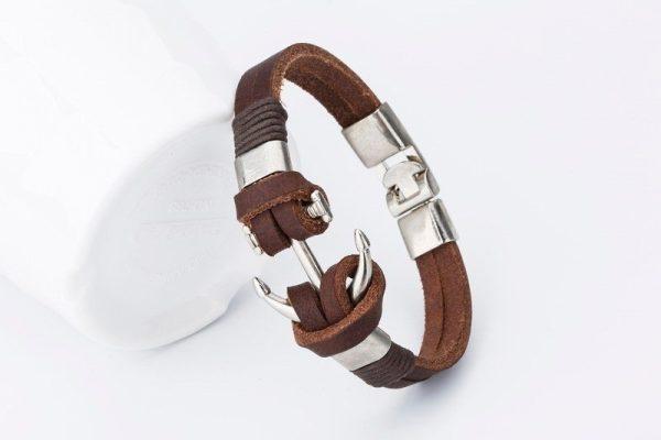 Montebello Armband Burcin Brown - Heren - PU Leer - Messing - Anker - 20 cm-16088