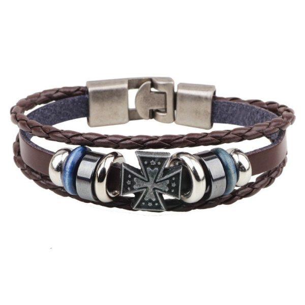 Montebello armband Kelt Brown - Heren - Metaal - PU Leer - Kruis - 20 cm-0