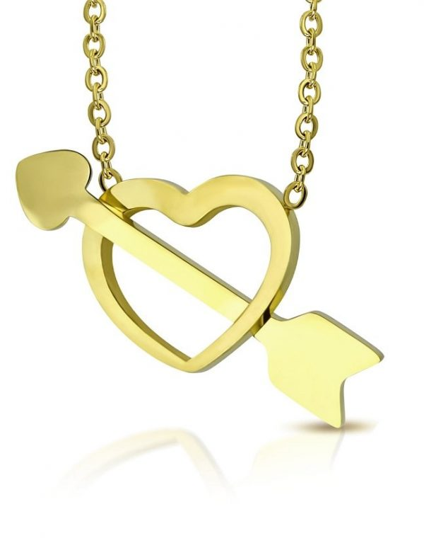 Amanto Ketting Cybren Gold - Dames - 316L Staal - Zirkonia - Hart - 20 x 15 mm - 50 cm-0