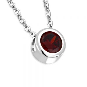 AAmanto Ketting Cyana Red - Dames - 316L Staal - Zirkonia - 8 x 8 mm - 45 cm-0