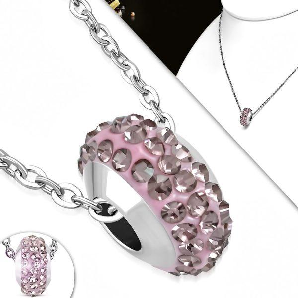 Amanto Ketting Cuma Pink - Dames - 316L Staal - Zirkonia - Shamballa - 10 x 6 mm - 45 cm-15504