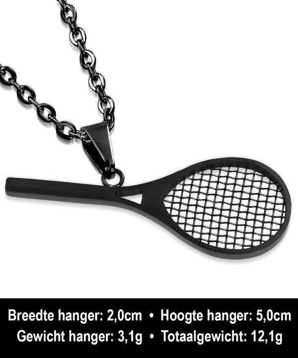 Amanto Ketting Conor - Heren - 316L Staal Zwart - Tennis - 50 x 20 mm - 60 cm-15240