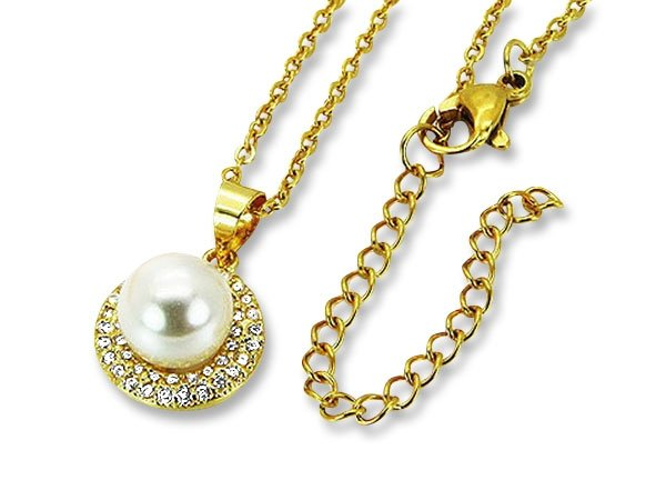 Amanto Ketting Danjel Gold - Dames - 316L Staal Goud PVD - Zirkonia - Parel - 12 x 12 mm - 50 cm-0