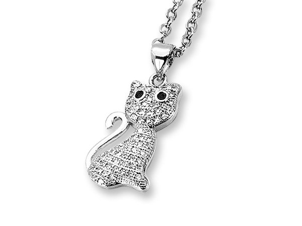 Amanto Ketting Daris - Dames - 316L Staal PVD - Zirkonia - Poes - 21 x 11 mm - 45 cm-0