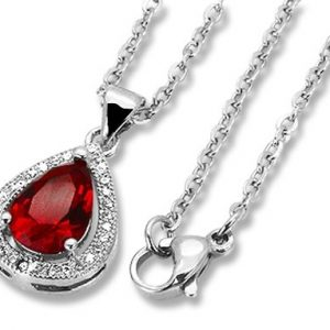 Amanto Ketting Danley Red - Dames - 316L Staal PVD - Zirkonia - 18 x 12 mm - 49 cm-0