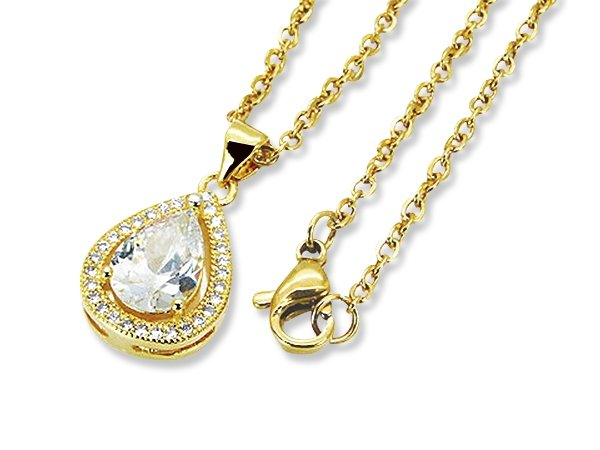 Amanto Ketting Danley Gold - Dames - 316L Staal Goud PVD - Zirkonia - 18 x 12 mm - 49 cm-0