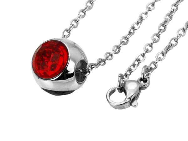Amanto Ketting Danya Red - Dames - 316L Staal PVD - Zirkonia - 12 x 12 mm - 50 cm-0