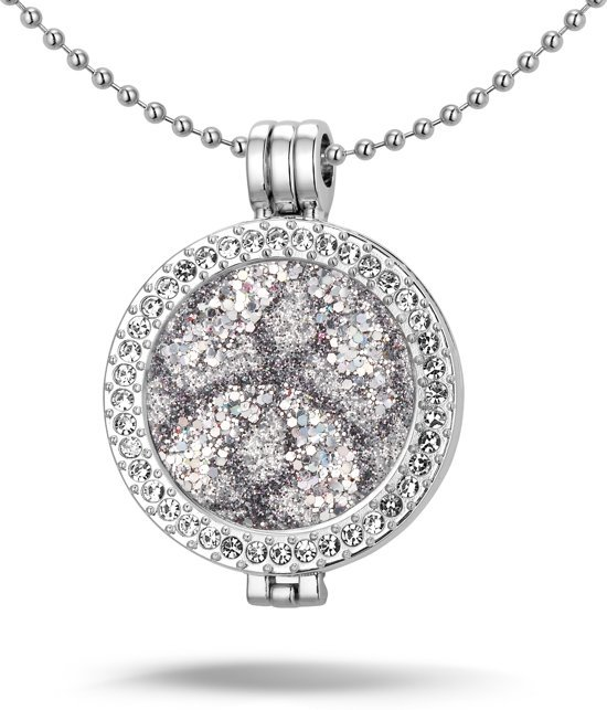 Montebello Ketting Aleyna G - Dames - Staal - Messing - Zirkonia - ∅35 mm - Coin - 3-delig - 80 cm-0