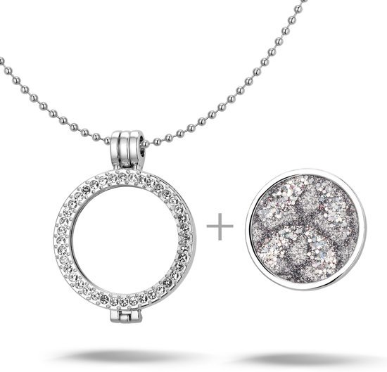 Montebello Ketting Aleyna G - Dames - Staal - Messing - Zirkonia - ∅35 mm - Coin - 3-delig - 80 cm-16771