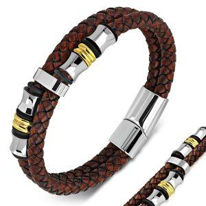 Montebello Armband Skabal Brown G - Unisex - Staal - Leer - Zwart - ∅21 cm-0