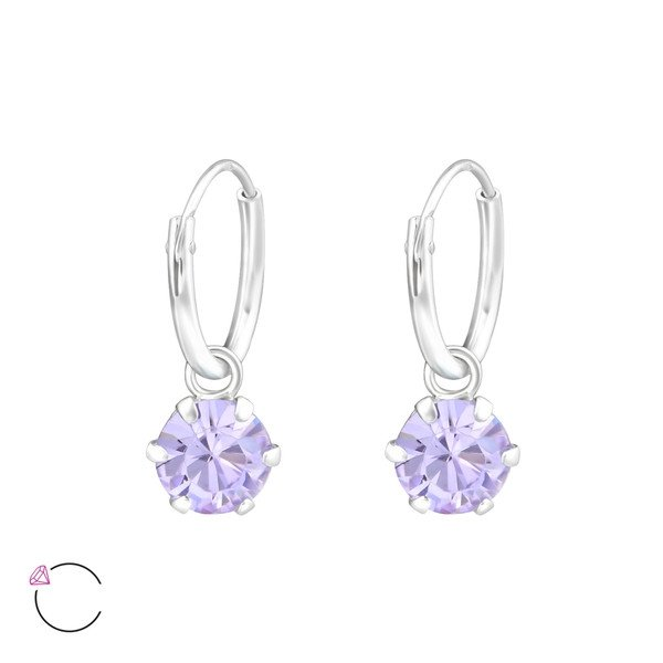 Montebello Oorbellen Cady Violet - Dames - 925 Zilver - Swarovski® ∅6 mm - ∅12 mm-0