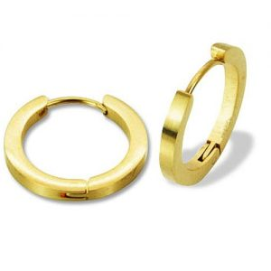Amanto Oorbellen Davit Gold - Dames - 316L Staal Goud PVD - Frosted - 2 x 18 mm-0