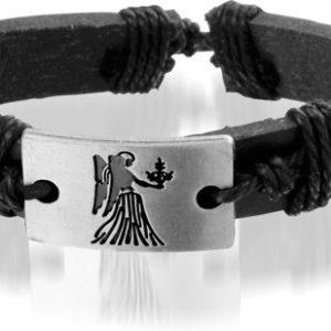 Montebello Armband Maagd - Unisex - Leer - Metaal - Horoscoop - 20-23 cm-0