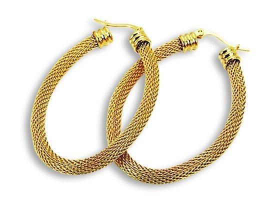 Amanto Oorbellen Derja Gold Oval - Dames - 316L Staal Goud PVD - Trendy - 4 x 56 x 35 mm-0