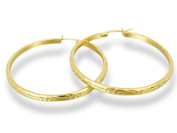 Amanto Oorbellen Dessy Gold - Dames - 316L Staal Goud PVD - Oorring - 3 x 43 mm-0
