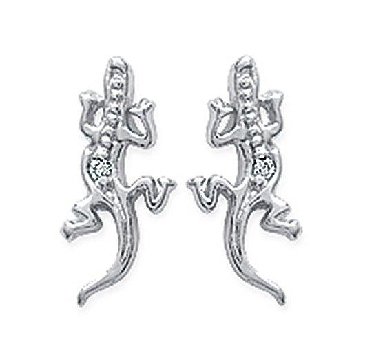 Zilveren oorbellen met salamander-20309