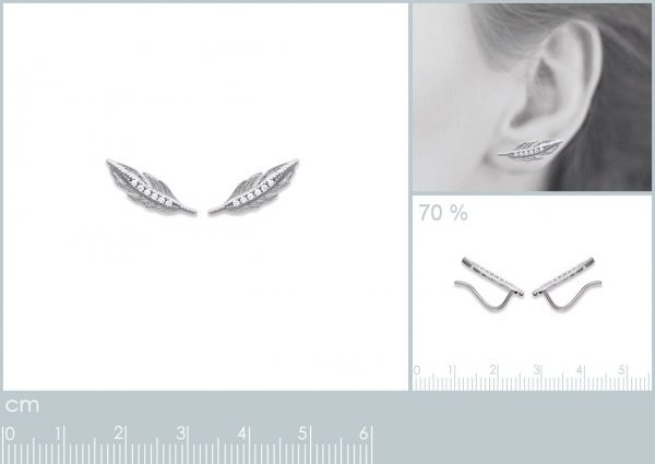 Montebello Oorbellen Dimas - 925 Zilver Gerhodineerd - Veer - 5x15mm-20285
