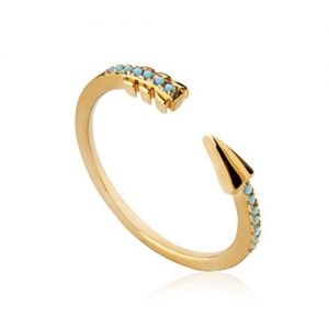 Amanto Ring Doris - Dames - 925 Zilver Goudverguld - Turkoois - Pijl -0