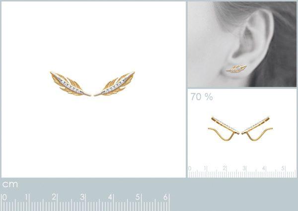 Montebello Oorbellen Dimas Gold - 925 Zilver Verguld - Veer - 5x15mm-21214