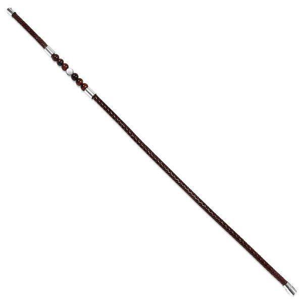Amanto Armband Dogus D - Unisex - Leer - Tijger Oog/Marmer - Wikkel - 6 mm - 21 cm-20039
