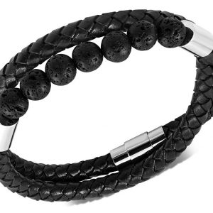 Amanto Armband Dogus G - Leer - Vulkanische Lava - 6mm - 21cm-0