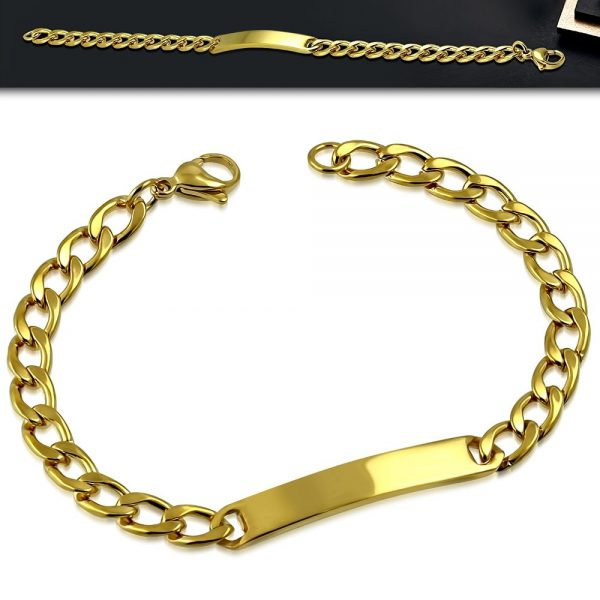 Amanto Armband Delmer Gold - Dames - 316L Staal PVD - Graveer - 6 mm - 19 cm-20130