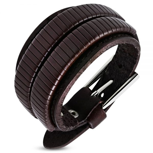 Amanto Armband Djulian Brown - Heren - Leer - 35 mm - 26 cm (aanpasbaar)-0