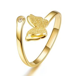 Montebello Ring Butterfly G - Dames - 316L Staal Goud PVD - Vlinder - Zirkonia - One-Size-0
