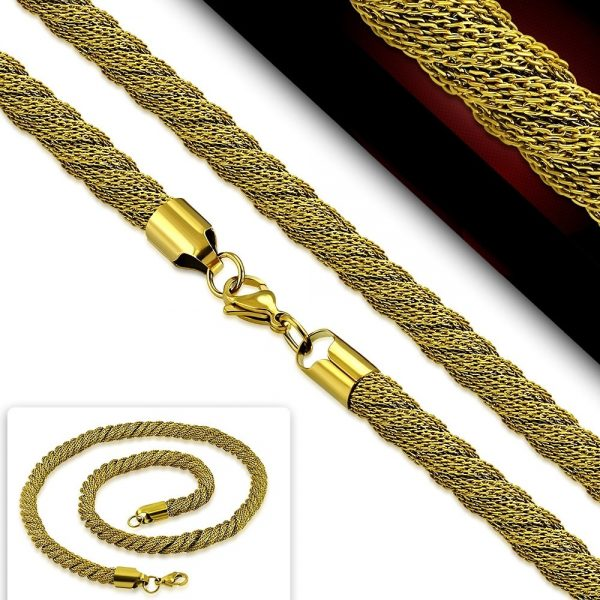 Amanto Ketting Dominic - Dames - 316L Staal Goud PVD - Mesh - 7 mm - 50 cm-20152