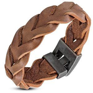 Amanto Armband Djorgen Brown - Heren - Leer - Gevlochten - 20 mm - 20 cm-0