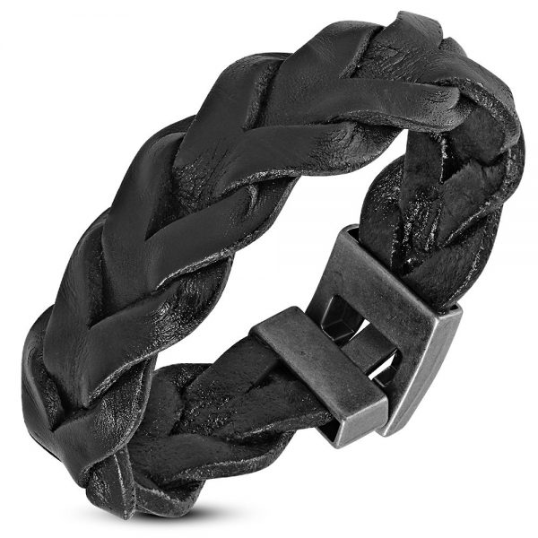 Amanto Armband Djorgen Black - Heren - Leer - Gevlochten - 20 mm - 20 cm-0