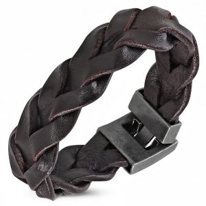 Amanto Armband Djorgen Dark Brown - Heren - Leer - Gevlochten - 20 mm - 20 cm-0