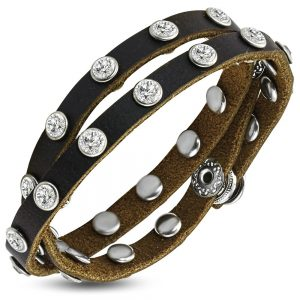 Amanto Armband Do Brown - Unisex - Leer - Zirkonia - Wikkel - 10 mm - 20 cm-0