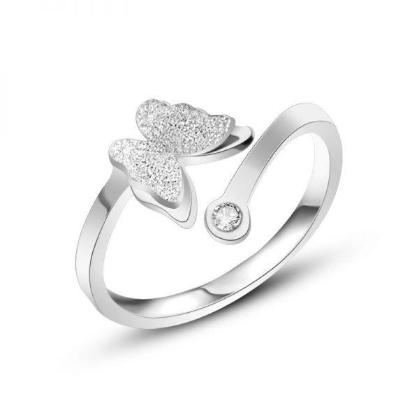 Montebello Ring Butterfly Z - Dames - 316L Staal - Vlinder - Zirkonia - One-Size-0