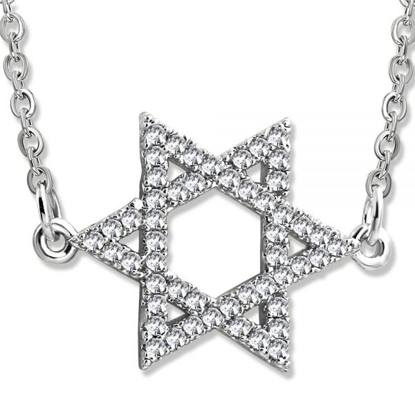 Amanto Ketting Donate - Dames - 316L Staal PVD - Zirkonia - Davidster - 16x22 mm - 45 cm-0