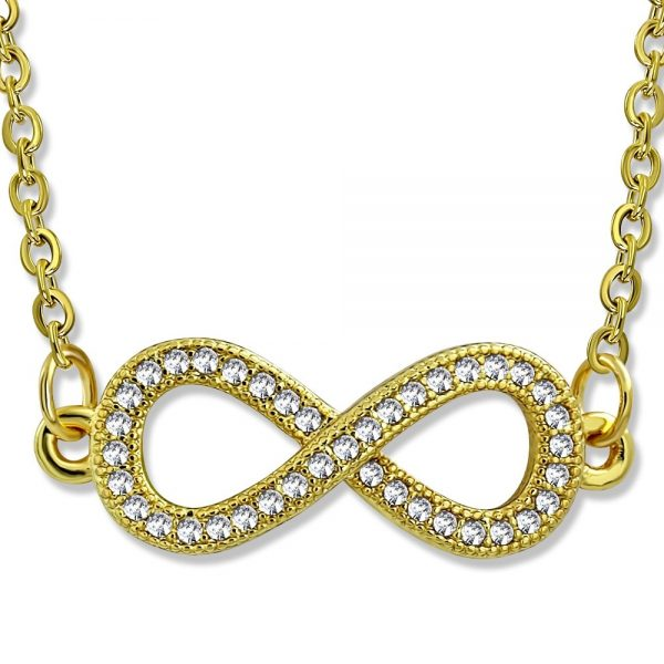 Amanto Ketting Donia - Dames - 316L Staal PVD - Zirkonia - Infinity - 9x25 mm - 45 cm-0