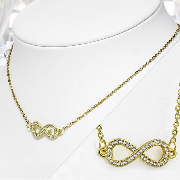 Amanto Ketting Donia - Dames - 316L Staal PVD - Zirkonia - Infinity - 9x25 mm - 45 cm-20180