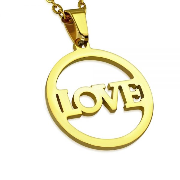 Amanto Ketting Dores A - Dames - 316L Staal PVD - Tekst - Liefde - 19x25mm - 45cm-0